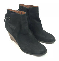 Lucky Brand Women's Yamina Wedge Bootie Ankle Boot black Suede size 10M - $27.99