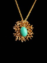 Vintage Signed BiG Brooch - Panetta pendant necklace - turquoise rhinest... - $195.00