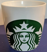 STARBUCKS COFFEE White Extra Large SIREN Logo MUG 12 oz GREEN Mermaid PLAIN - $24.70