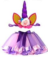 LYLKD Tulle Rainbow Tutu Skirt for Newborn Baby Girls (S,0-24 Months|Pur... - $18.21