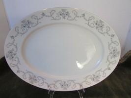 "Johann Haviland Bavaria Germany China 12.75"" Platter Rhineland Blue Roses Grey - $8.86"