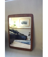 Vintage Formica atomic / RETRO Scandinavian / teak Framed Mirror / 1970s... - $190.00