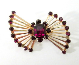 Vintage Art Deco Signed Coro Red Glass Rhinestone & Gold Tone Brooch - $89.99