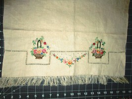 "VTG Top Quality Fringed Linen Towel, Silk Embroidered, 17"" x 26"" , EUC G... - $9.79"