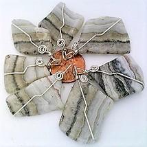 Silver Lace Agate Nugget Wire Wrap Pendant - $11.88