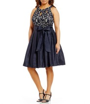 JESSICA HOWARD Navy Blue Sleeveless Lace & Taffeta Fit & Flare Belted Dr... - €22,19 EUR