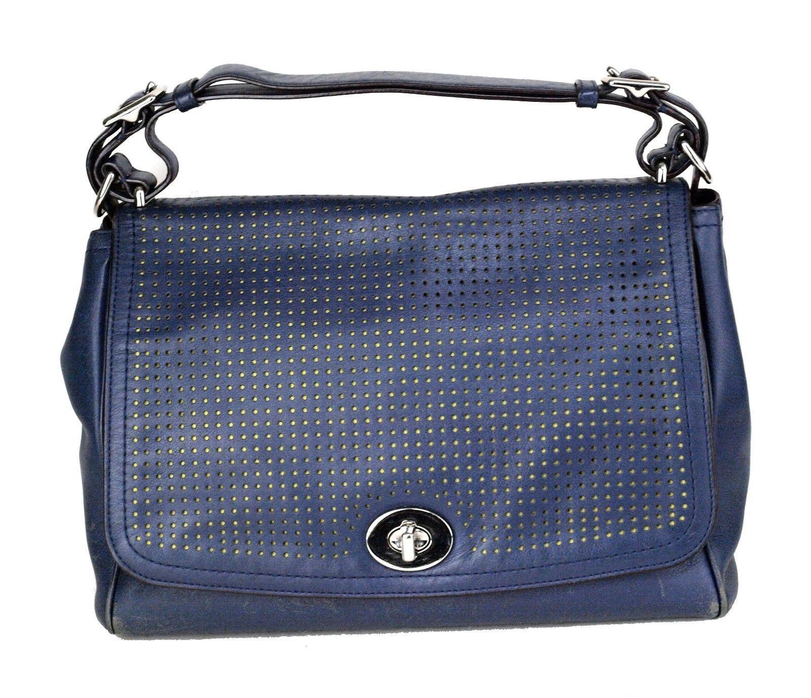 100% Authentic COACH Legacy Perforated Leather Romy Navy Hand Bag Used a958fe632698d