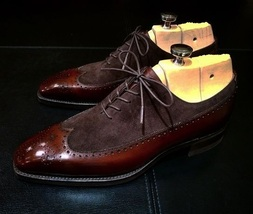 Handmade Men's Brown Leather And Suede Wing Tip Brogues Style Oxford Shoes image 1