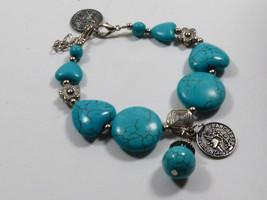 Rebublique Francaise Faux Coin Silver Tone Metal Turquoise Faux Stone Bracelet - $27.72