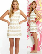 $278 Lilly Pulitzer Resort White & Gold Truly Petal Lace Delia Shift Dre... - $175.50