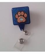 Glitter Paw Print badge reel key ID card holder lanyard retractable Dog ... - $8.24