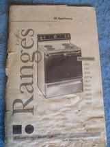 Vintage ca 1997 GENERAL ELECTRIC GE Electric Ranges Owners Manual 40 pgs... - $19.27
