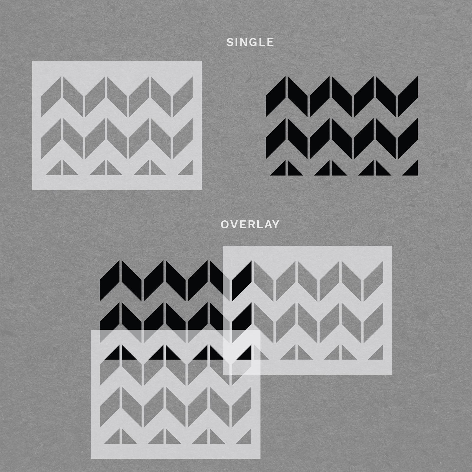 "Chevron Horizontal Stencil - Reusable Chevron Wall Stencil - 33"" x 19.5"" Size"