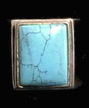 Vintage Turquoise Sterling Silver Southwest Mens Ring size 11 - $88.00