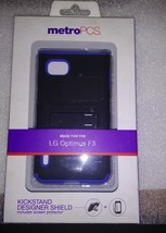 LG Optimus F3 Metro PCS - KICKSTAND Designer Shield w Screen Protector P... - $5.99