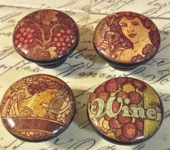 "4 Handmade Vintage Wine Knobs, 1.5"" Dresser Pulls, Old Wine Label Designs - $23.76"