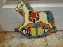 Christmas Holiday Wood Shelf Sitter Wall Plaque Rocking Horse Free Shipping - $18.80