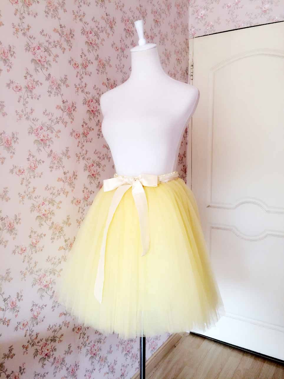 Women Plus Size Full Tulle Midi Skirt Midi Tulle Skirt Ballerina Skirt -Yellow