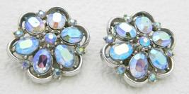 Vtg Crown Trifari Silver Tone Blue Aurora Borealis Rhinestone Clip Earrings B - $49.50