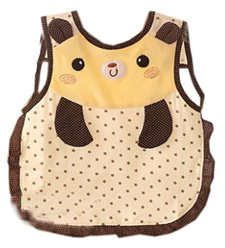 Lovely Cartoon Pattern Waterproof PVC Feeding Baby Bibs Yellow
