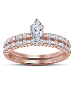 1.25 Ct Marquise Sim Diamond 925 Silver Rose Gold Plated Bridal Engageme... - $72.99