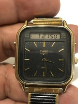 Vintage TIMEX Quartz Men's Watch Gold Tone 392 K-Cell TCC Speidel Flex b... - $27.83