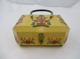Vintage women Wooden Handpainted Flowers And Hearts Purse Handbag - $34.99