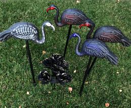 Skelemingos Flamingo Skeleton 3pc Outdoor Plastic Decor w Stakes - $44.55