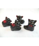 Vintage Black Cat Redware Figurines Salt Pepper Shakers Ceramic Made In ... - $16.00