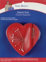 Fons & Porter Magnetic Heart Caddy with10 Glasshead and 5 Quilting Needles - $7.70