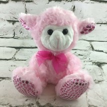 "Lamb Sheep Plush 6"" Pink Shimmer Stuffed Animal Easter Valentines Gift Toy  - $9.89"