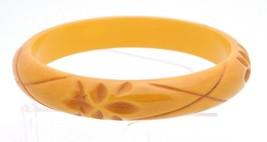 VTG Butterscotch Yellow BAKELITE TESTED Carved Flower Floral Bangle Brac... - $198.00