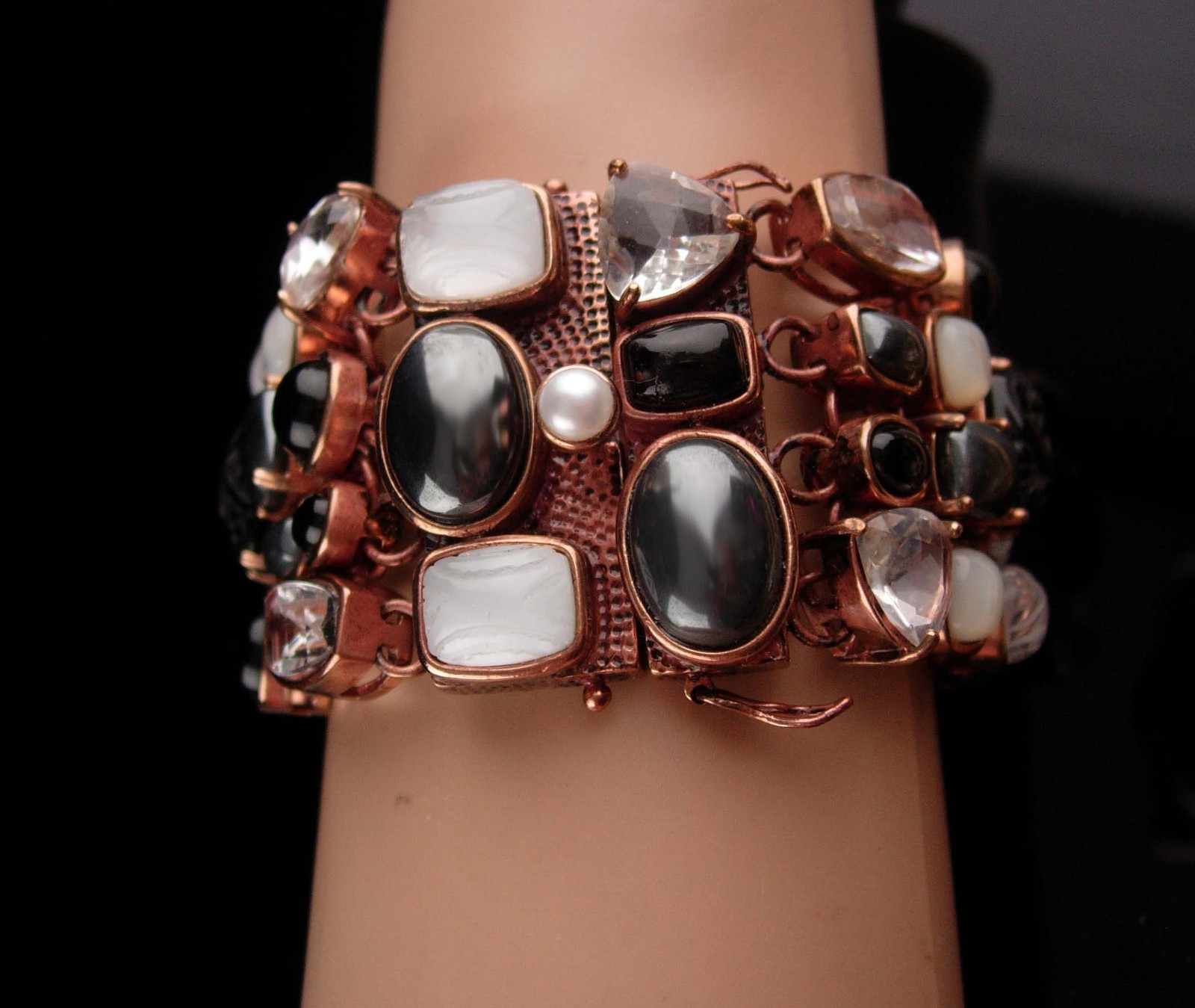 Primary image for Amy Kahn Bracelet - carved black onyx - Pearl - Hematite - bronze cluster wide b