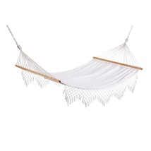Hammock Swing Bed with Fringe 11 ft Capri Canvas White Classic Relaxing ... - $76.99
