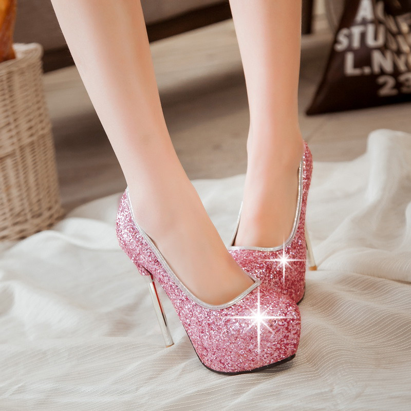 pp403 awesome sequined surface stiletto pumps US Size 3-10, pink