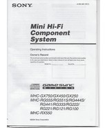 Sony MHC-GX750 RG555  RG222 RX550 RG444S Mini HI-FI Component System Use... - $7.91