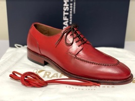 Handmade Men's Red Leather Lace Up Oxford Dress/Formal Shoes image 5