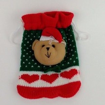 Yarn Tedy Bear Christmas Gift Satchet Red and Green - $3.16