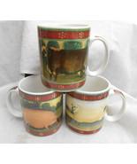 BLOCK CHINA COUNTRY FARM COFFEE MUGS 3 PIG LAMB COW BULL SHEEP - $29.69