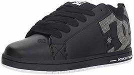 DC Men's Court Graffik Se Skate Shoe, Black/Grey, 8 D M US - $55.58