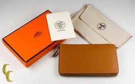 HERMES Paris Chevre Mysore Azap GM Combined Wallet in Tan - $1,782.00