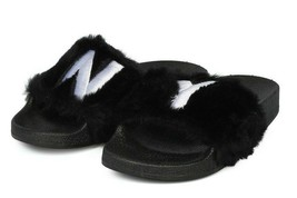 New Women Faux Fur NY - new York Open Toe Slip On Footbed Slide -17849 By Qupid