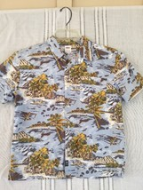 Kids Small Tropical Aloha Shirt Out Riggers Old Navy Cotton Blues - $10.00