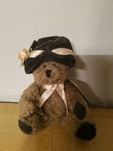 "Boyds Bears 5"" Plush Bear Simone Jointed with Black Hat and Pink Rose - $4.99"