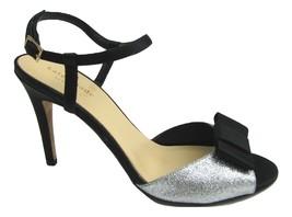 Kate Spade Ivy Black Silver Glitter Strappy Heels Back Bow Sz 7.5 Pump Open Toe - $49.45