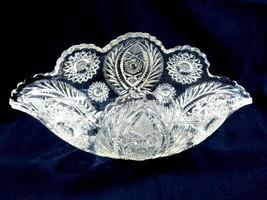 Vintage Clear Cut Glass dish bowl bent sides - $36.43
