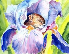 "Akimova: SLEEPING BABY IN IRIS, watercolor,chipmunk, 8""x6.5"" - $16.00"