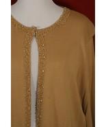 ALAIN WEIZ NWT Women's Plus 24 Knit Sweater Beaded Trim Camel Gold 3/4 S... - $34.65
