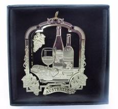 Australia Wine Christmas Ornament Black Leatherette Gift Box - $14.95