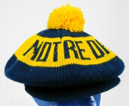 Notre Dame Irish Blue Gold Knit Beanie Newsboy Gatsby Hat Pom Pom - $19.99